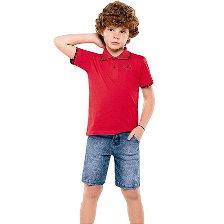 Camisa polo básica manga curta em meia malha