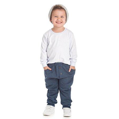 Calça moletom jeans preto com botões de madeira