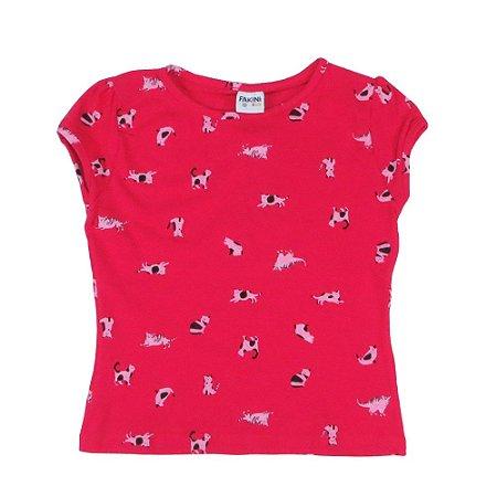 Blusa rosa estampa gatinho Tamanho 10