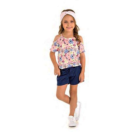Conjunto blusa florida e short Tamanho 4