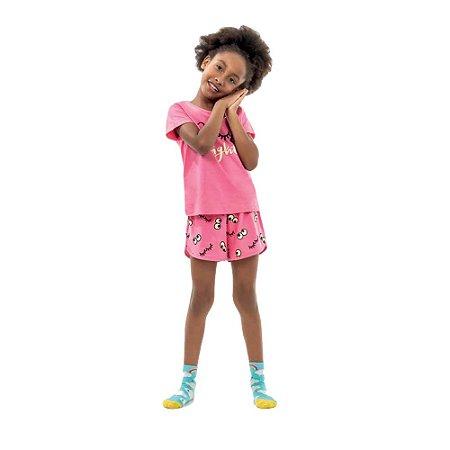 Conjunto pijama meia malha menina brilha no escuro
