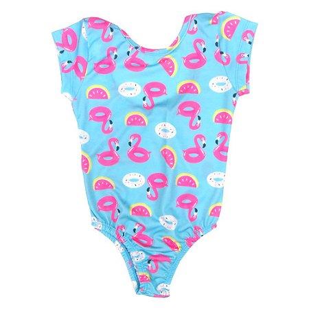 Body menina poliéster flamingo e donuts