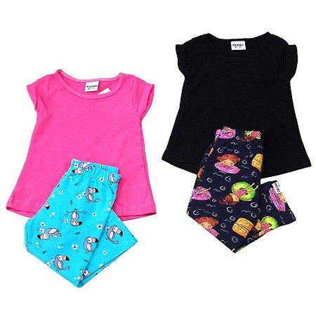 Kit 2 Conjuntos blusa e calça legging Fakini Tamanho M