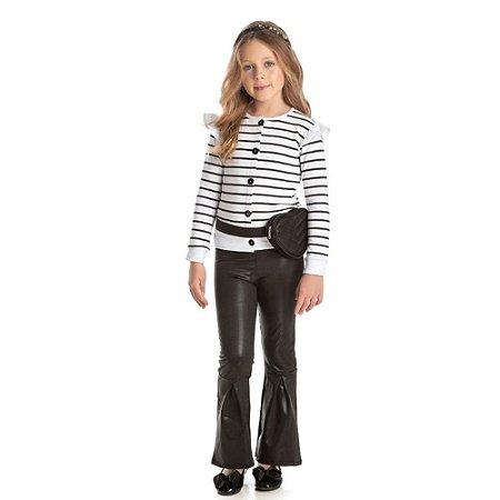 Conjunto menina casaco molecotton silk listras c/ calça couro resinado