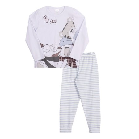 Conjunto pijama menino calça e camiseta manga longa Hey you!