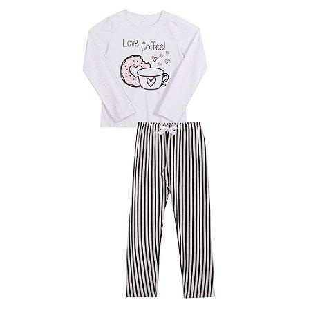 Conjunto pijama juvenil calça e manga longa Love Coffee