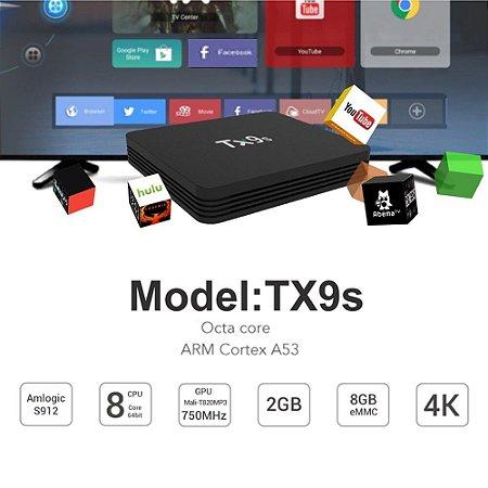 Tx9s android smart tv caixa s912 4k 60fps tvbox 2.4g wifi caixa de tv