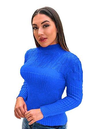 Blusa suéter tricot cardigan detalhada gola alta