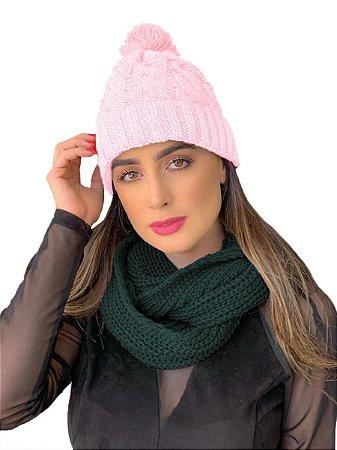 Kit Touca gorro tricot + cachecol gola feminino