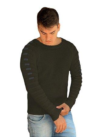 Blusa suéter masculino tricot detalhes nas mangas