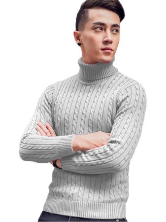 Cacharrel blusa tricot lã canelada trançada masculina