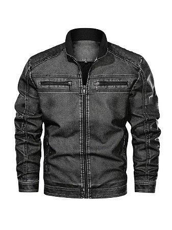 Jaqueta masculina de couro slim fit ofert.