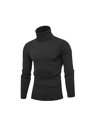 Cacharrel blusa tricot lã masculina canelada gola