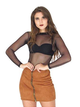 Body feminino de Tule transparente Bruna Marquezine