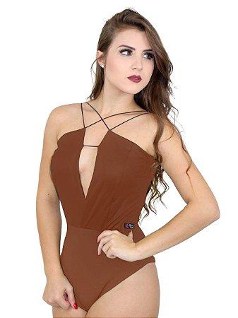 Body couro feminino com decote V alça fina
