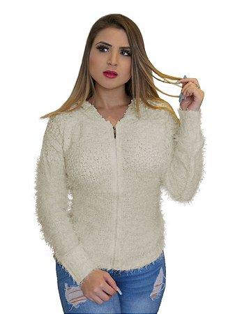 Blusa casaco pelinho felpuda capuz inverno feminina