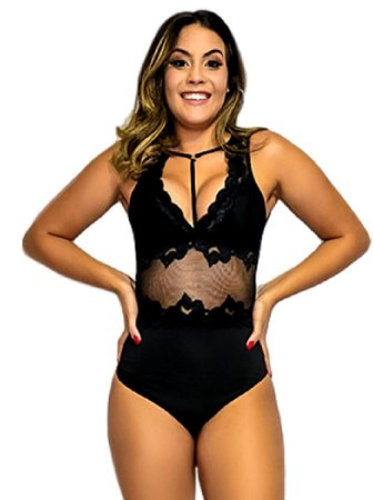 Body rendado decote feminino bordado nova moda