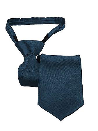 Gravata slim fit com zíper e laço pronto marinho