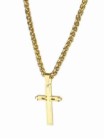 Cordão corrente masculino banho ouro + pingente cruz