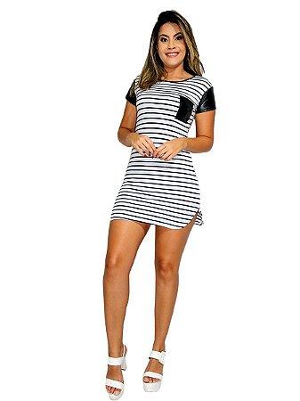 Vestido curto blogueira listrado