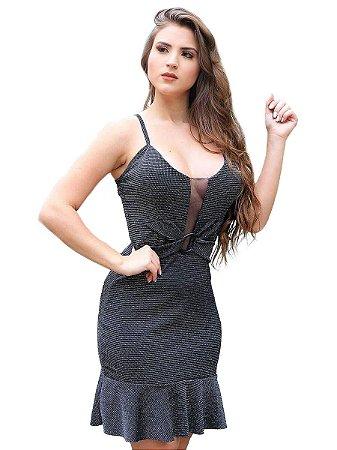 Vestido Lurex com Decote em Tule