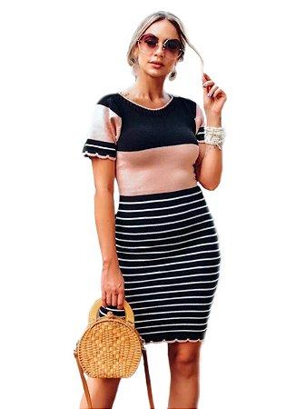 Vestido Tricot Modal Listado Tendência