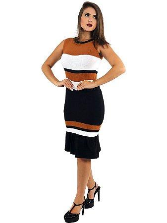Vestido Curto De Tricot 3d Modal