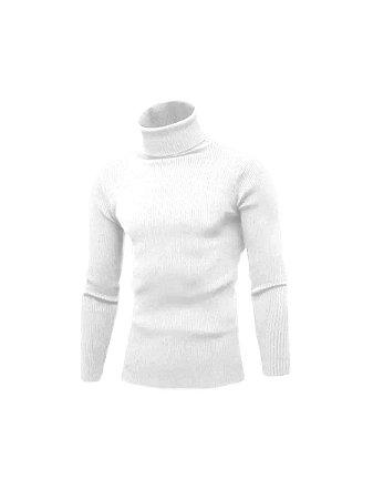 Cacharrel tricot Lã canelada gola alta