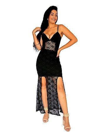 Vestido Feminino longo com 2 fendas alça fina.