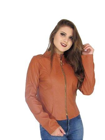 Jaqueta slim feminina couro com zipers