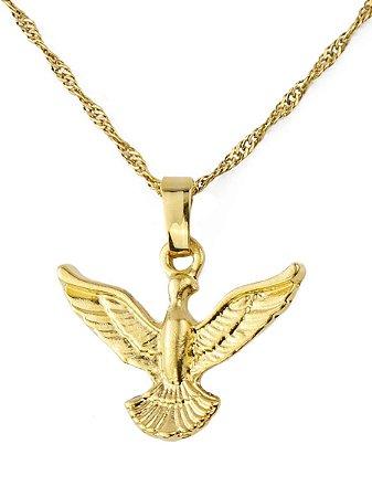 Colar pingente divino espírito santo folheado a ouro