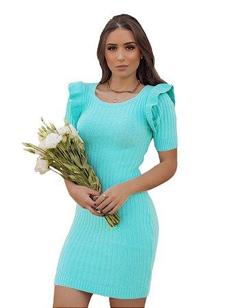 Vestido modal tricot canelado com babados no ombro
