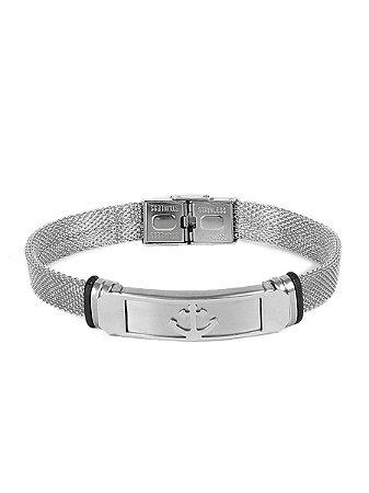 Pulseira Bracelete Âncora Aço Inox Regulável