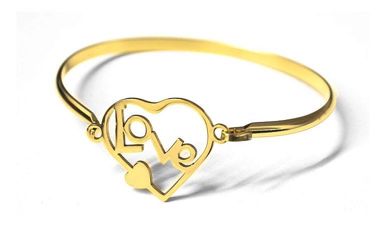 Pulseira Bracelete Feminino Cor Do Ouro Love