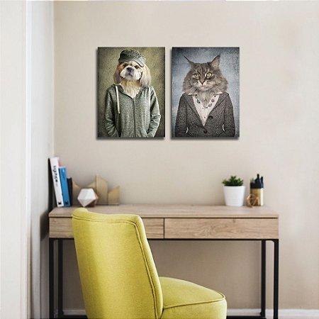 Composição 2 Quadros Cão e Gato