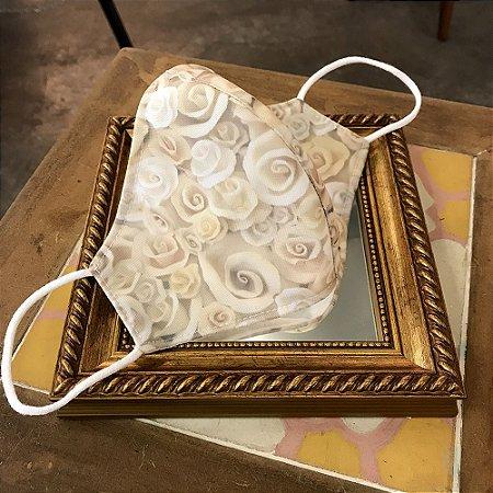 Máscara de Tecido Rosas de Cerâmica I