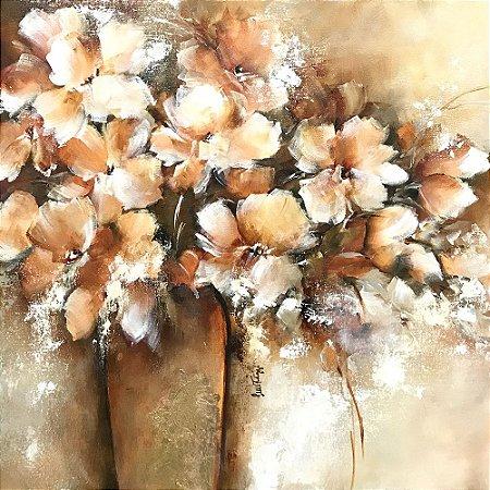 Tela Florais em vaso dourado - Luiza Matilde