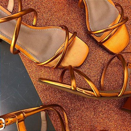 Sandália Tiras Metalizada Orange