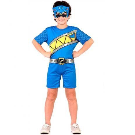 Fantasia Power Rangers Dino Azul Infantil Curto