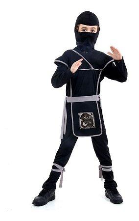 Fantasia Ninja Preto e Cinza Infantil - Guerreiro Ninja
