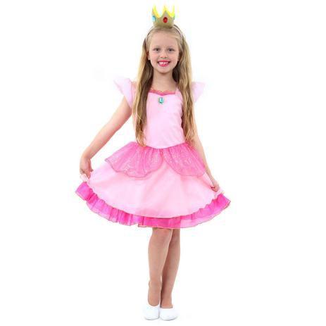 Fantasia Princesa Peach Infantil - Super Mario
