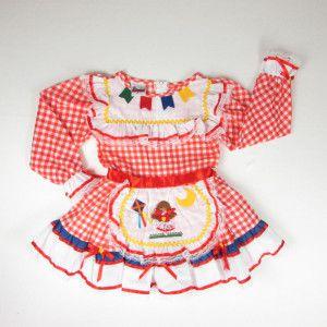 Vestido de festa junina xadrez vermelho baby