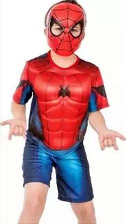 Fantasia Homem Aranha Curto Com Músculo Infantil