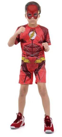 Fantasia Flash Infantil Curto com Musculatura - Liga da Justiça