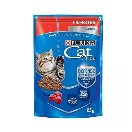 Ração Úmida Nestlé Purina Cat Chow para Filhotes - Sachê Carne ao molho 85g