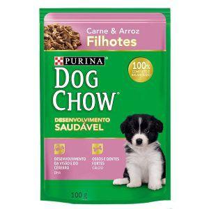 Ração Úmida Nestlé Purina Dog Chow - Sachê de Carne e Arroz - Para Cães Filhotes 100g
