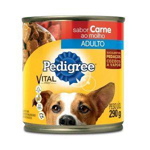 Ração Pedigree Lata - Carne Ao Molho - Para Cães Adultos 290g