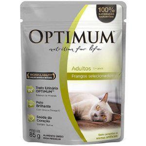 Ração Úmida Optimum - Sachê Frango - Para Gatos Adultos 85g