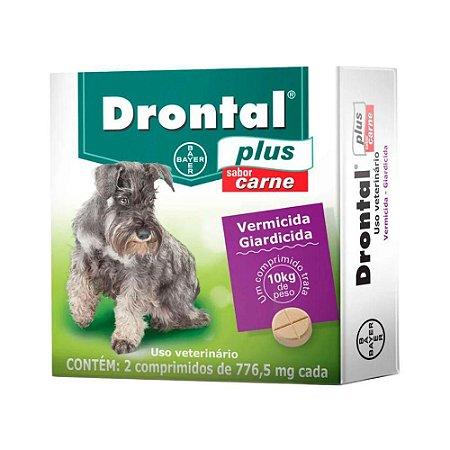 Vermífugo Bayer Drontal Plus - Sabor Carne - Para Cães Até 10Kg – 2 Com.