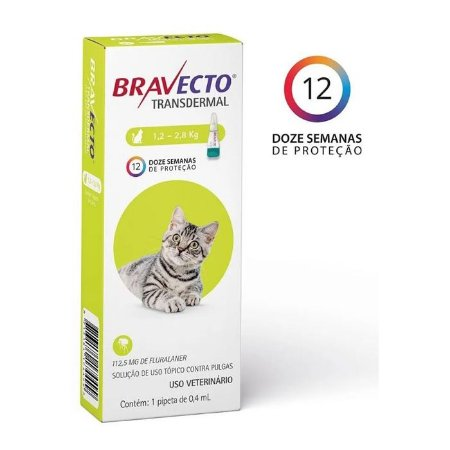Bravecto Antipulgas e Carrapatos Transdermal para Gatos de 1,2-2,8KG -112,5MG